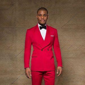 Attraktive rote One Button Zweireiher Männer Anzüge Schal Revers Hochzeit Anzüge Für Männer Mit Jacke Hosen Prom Smoking Zwei Stücke Blazer