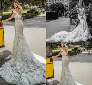 Robes de mariée sirène Netta Ben Shabu 2019 sur l'épaule dentelle Appliques balayage train robe de mariée bohème Custom Made Robes De Mariée