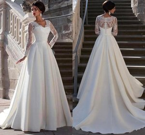 2020 elegantes mangas largas en V cuello a-línea vestidos de novia barato vintage encaje apliqueado satén más tamaño vestido de novia BM1619