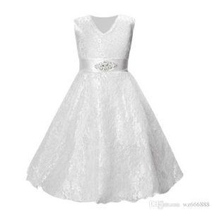 Mädchen Partei tragen Kleidung für Kinder Sommer ärmellose Spitze Prinzessin Hochzeitskleid Mädchen Teenager gut Partei Abendkleid