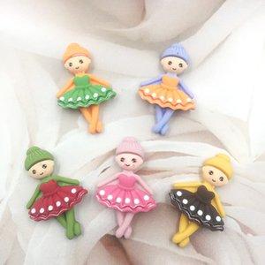 30pcs Mini arrière Dancing Girl Flat Mignon résine Cabochon Kawaii princesse embellissements Accessoires cheveux bricolage Bows Centre: 32 * 20 mm