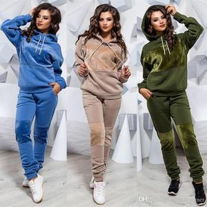Women Winter Hooded 2Pcs Set Fashion Panelled 2Pcs Pants Casual Womens Clothing