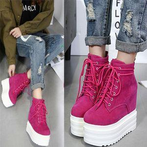 Femmes plateforme bout rond cheville Bottes Wedge super hauts talons lacées hautes chaussures Black Rose 13cm C840
