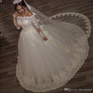 Luxury Lace Ball Gown Wedding Dresses Long Sleeve Bateau Sheer Neck illusion Sequin Plus Size Arabic Wedding Bridal Gowns