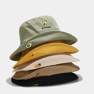 Women hats Spring summer new fruit embroidery big along fisherman hat Japanese small fresh simple basin cap wild sun visor hat