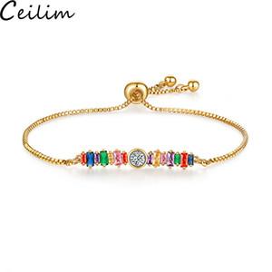 Bracciale bar arcobaleno fatto a mano Bracciale cristallo per ragazze Zircone Bracciale catena regolabile Bracciale tennis Arcobaleno gioielli per donna Regalo amicizia