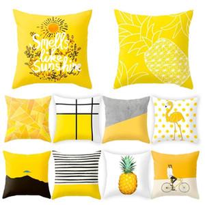 45x45cm listrada amarela Pillowcase Lance Geometric Almofada fronha Impressão Almofada Fronha Quarto Escritório Decor XD22341