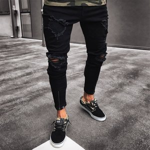 Casual Jeans Solid Big Hole High Street Elastic New Fashio Slim Fit Comfortable To Wear Pencil Pants ky08