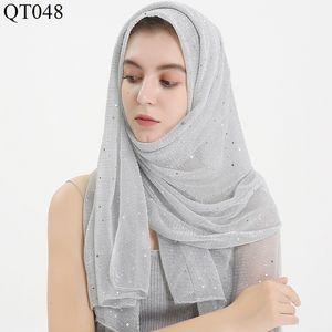 Paillette Silber-Draht Baotou Schal Frau Diaprojektor Silk Arab Lange ein Stück Stoff Muslim Rectangle Schal Hijab