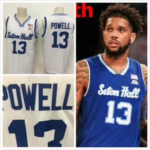2020 Seton Hall Myles Powell 13 Basketball Jersey Jerseyshemden blau weiß Größe S-XXL Suture genähtes