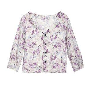Mulheres manga comprida botão de camisa ocasional das senhoras OL Formal solto Tops Blusa Único Breasted V Neck Bottons Flor Imprimir