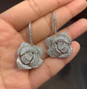 brand designer earrings for women wedding jewelry with crystal 2019 fashion rose earring s925 silver cubic zirconia earrings rings