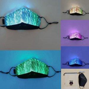 Luci di colore LED fino Maschera USB Maschera ricaricabile Glowing polvere per la barra del partito di rave Danza Masquerade Costumi maschera facciale LJJK2154