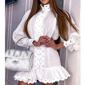 Negro Blanco vintage linterna manga riza el mini vestido de la sirena 2019 Vestido de pista, Primavera Mujer