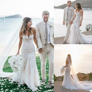 2020 Sweetheart Mermaid Wedding Dresses Lace Tulle Sweep Bride Robe De Mariée Sirène Front Split Long Sweep Bride Gowns