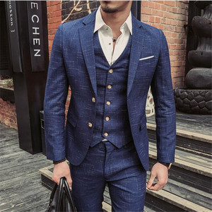 Fashion Plaid Costume Homme Mariage Mens Suits Slim Fit 2020 New Fashion Man Suits Mens Terno Dinner Lastest Style