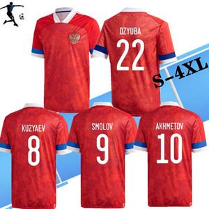 S-4XL 2020 러시아 국립 축구 팀 축구 유니폼 (20) (21) 러시아 홈 # 22 DZYUBA # 17 골 로빈 # 10 아크메 토프 축구 셔츠