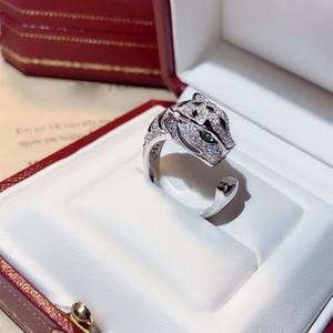 S925 Sterling Silver Personalidade Domineering Leopardo Anel Mulheres Quente Frete Grátis Bracelete de Dança Luxuosa Dando Presentes Anéis Dourados