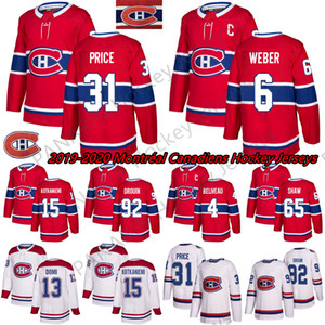 2019 New Montréal Canadiens 6 Shea Weber 31 Carey Price 11 Brendan Gallagher 13 Max Domi Stitched Red And White Ice Hockey Jerseys