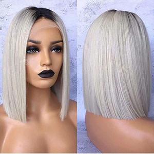 Stok!! Afrika gri ombre Peruk koyu kökleri, kısa Bob Peruk americna sentetik dantel ön dayanıklı sentetik Saç ısı Wig