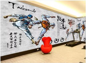 WDBH foto 3d wallpaper murale personalizzato Taekwondo dipinto a mano esercizio fitness soggiorno decorazioni per la casa 3d murales carta da parati