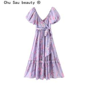 Chu Sau bellezza di nuovo modo di Ins Blogger stile della stampa floreale del vestito dalle donne Boho Chic imitazione di seta Bow Sashes Fata Abiti Femminile CX200616