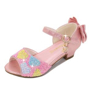 Sandálias meninas altos saltos princesa sapatos 2021 verão bebê crianças crianças menina cristal tamanho 26--38