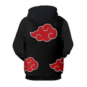 Naruto мужчин Толстовки Облако Printed Tops Mens O-образным вырезом Сыпучие Косплей Итачи Uchih Толстовки Мужчины Мода Одежда