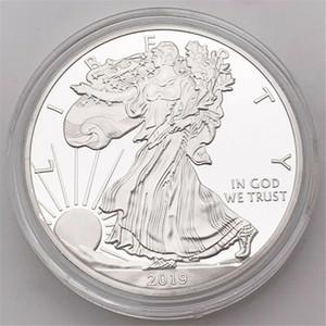 Бесплатная доставка 2019 Статуя Свободы Памятные монеты 1 Oz Fine Silver Один доллар монет Коллекционирование США Америка Монеты Бокс кольцо