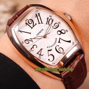 NOVOS MODELOS CINTRÉE CURVEX LEMBRE-SE 2850 B SC EM REM D Branco Dial Mens Automatic Watch Rose Gold Case Couro Strap Sport Relógios