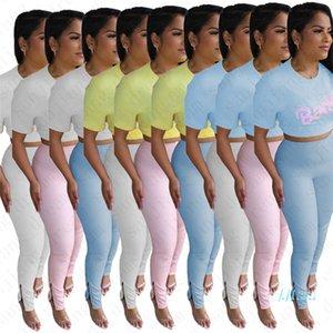 Donne Tuta Baddie lettere parti superiori della maglietta della chiusura lampo dei pantaloni di colore della caramella due pezzi maniche set brevi abiti casual vestito di sport D5706