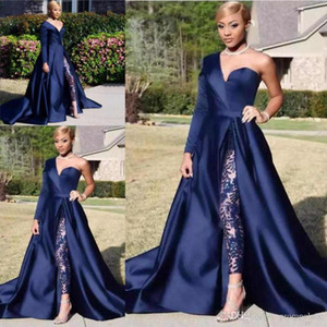 Black Girls African Two Pieces Prom Dresses Una spalla in raso davanti Split Pantsuit abiti da sera abiti da festa