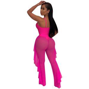 Rose redFashion Casual Zweiteiler Aushöhlen Spaghettiträgern Bodysuit Badebekleidung + Rüschen Sheer Mesh Pants Set