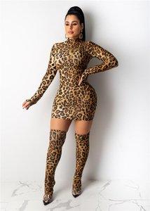 Frühling, Sommer, Entwerfer-reizvolle dünne Kleider Weiblichen Nachtclub Mode Kleidung Frauen-Leopard-Druck-lange Hülse Mid-High Turtleneck Kleid