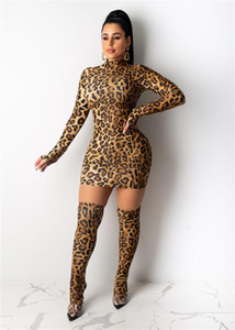 Designer Primavera-Verão sexy slim Vestidos fêmeas Night Club Roupa Moda Womens Leopard Print Long Sleeve Mid-alta gola do vestido