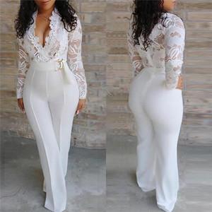 Femmes en dentelle blanche Jumpsuit creux Sexy Out col en V à manches longues Vêtements Pantalon droit Famale Jumpsuit