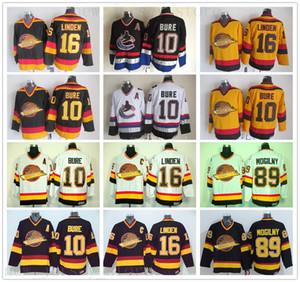 Vintage CCM Vancouver Canucks Gelo Hóquei 10 Pavel Bure Jersey 89 Alexander Mogilny 16 Trevor Linden Postado Preto Branco Amarelo Jersey