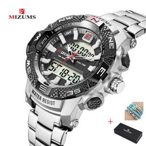 2019 MIZUMS Men Sports Watches Men's Double movement Quartz LED Digital Clock Male Waterproof Military Watch Men Wristwatch