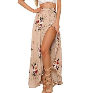 Nueva llegada mujeres verano Hight cintura alta Split impreso Maxi falda plisada gasa larga Casual Boho