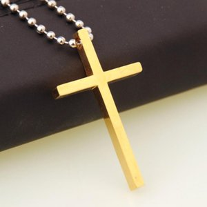 Vintage Style Stainless Steel Link Charming Gold Christian Cross Pendant Ball Link Chain Necklace Men's Women's Biker Jewelry