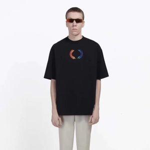 18FW Regenbogen Weizen T Mode-Buchstabe gedrucktes atmungsaktiv T-Shirt-beiläufige lose Crewneck Straße Paar-T-Shirt HFTTTX111