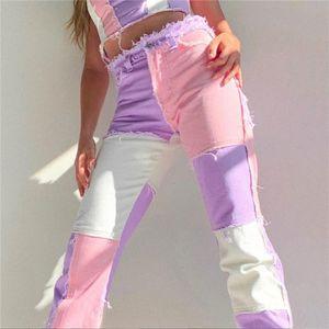 Patchwork skinny high waist y2k jeans per donne harajuku abbigliamento sportivo pantaloni da carico joggers donne 90s skater jeans