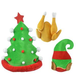 Funny Plush Turkey Hat Drumsticks Cap Green Tree Elf Hat Partido de la familia Apoyos de la foto Favor de la acción de gracias DEC439
