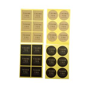 600pcs / lot Square Cercle Forme Merci à la main Adhésif Adhésif Emballage Scellant Sticker Stickers Cadeau de Noël DIY