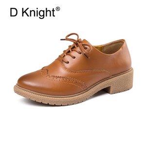 Venda quente das mulheres de couro genuíno Oxford Shoes Moda Rodada Toe Lace Up Plano Ladies Oxfords England estilo Brogue Oxfords Para
