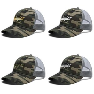 Unisex Quality Taylor Guitars Flash gold Adjustable Trucker Cap Ball Fitted Cute Fashion Baseball Hat music mini bass Camouflage Vintage