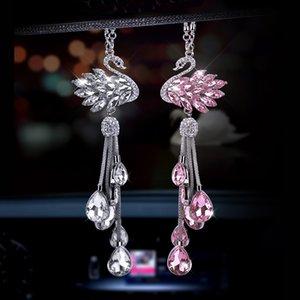 Автомобиль зеркало заднего вида Шарм Кристалл лебедя висячие украшения горный хрусталь интерьер декора Crystal Swan талисманом подвеска Девушки Женщины