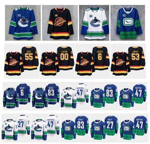 Remendo da 50ª Temporada NHL Vancouver Canucks Jersey Elias Pettersson Bo Horvat Brock Boeser Antoine Roussel Alexandre Edler Jake Virtanen Roussel