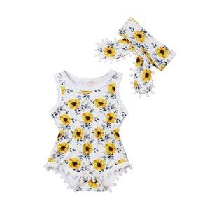 Moda Niño recién nacido los niños de la niña floral sin mangas del mono Una Pieza mono del verano sunsuit Playsuit