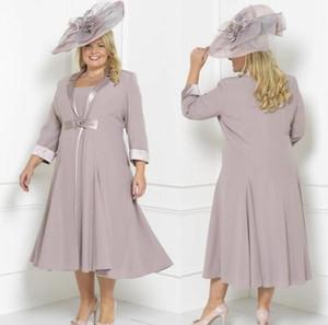Современный плюс размер мать невесты платья платья рукава длиной чайное совок шеи свадебное гость платье пользовательских матерей жениха платье с длинной курткой